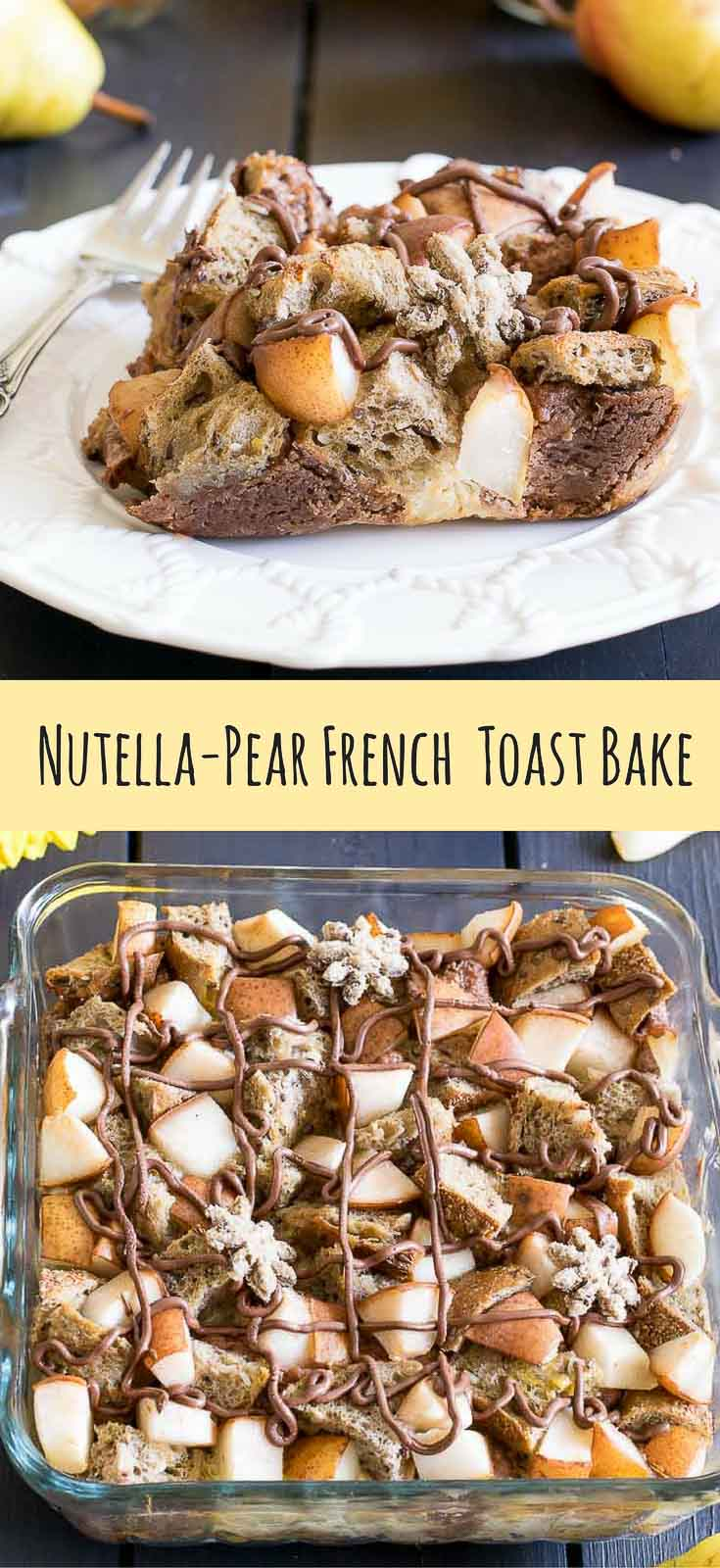An easy overnight breakfast bake filled with cream cheese, Nutella and chunks of juicy pear. It's sure to delight friends and family!