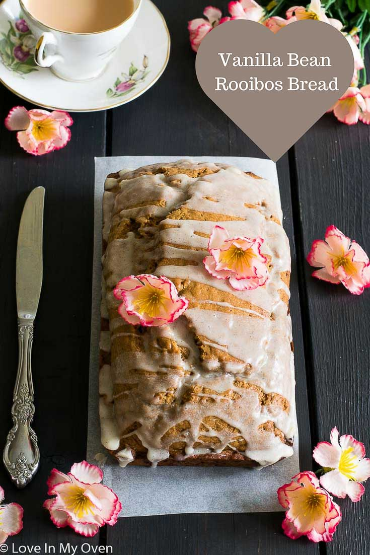 A lightly sweetened, red rooibos tea-infused bread with hints of vanilla and drizzled with a vanilla bean glaze