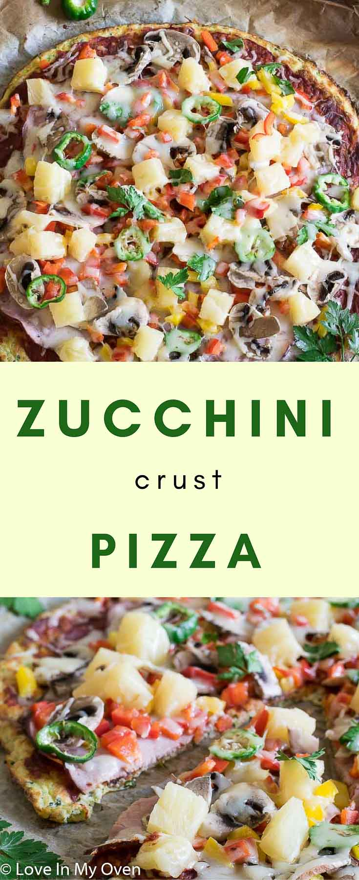 Even the most fierce of zucchini-haters will love this gluten-free zucchini crust pizza with it's light and chewy texture and mild flavour!