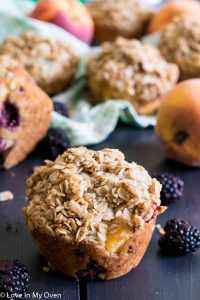 Bakery-Style Blackberry Peach Muffins