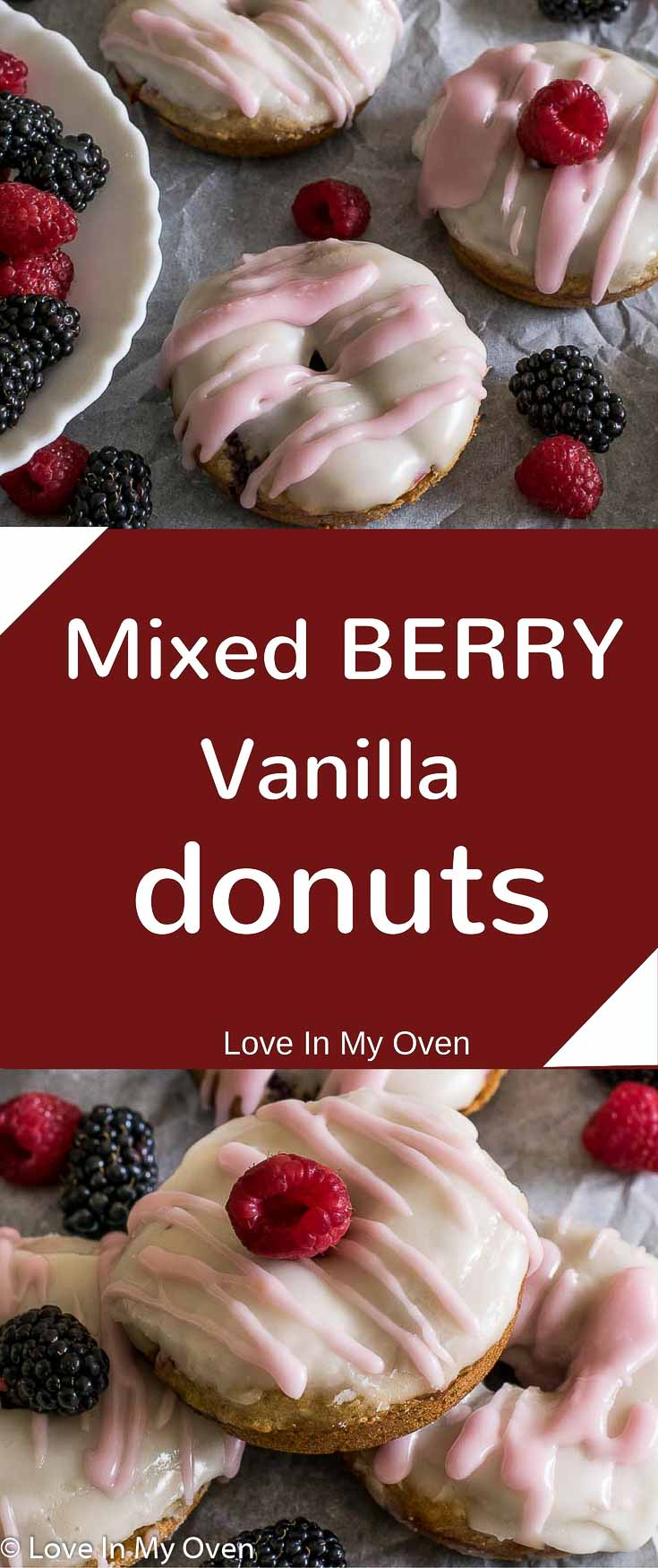 Soft and fluffy baked vanilla donuts with a pop of fresh berries and covered in a vanilla glaze! Sweetened with banana and maple syrup, try a healthier donut for breakfast today.