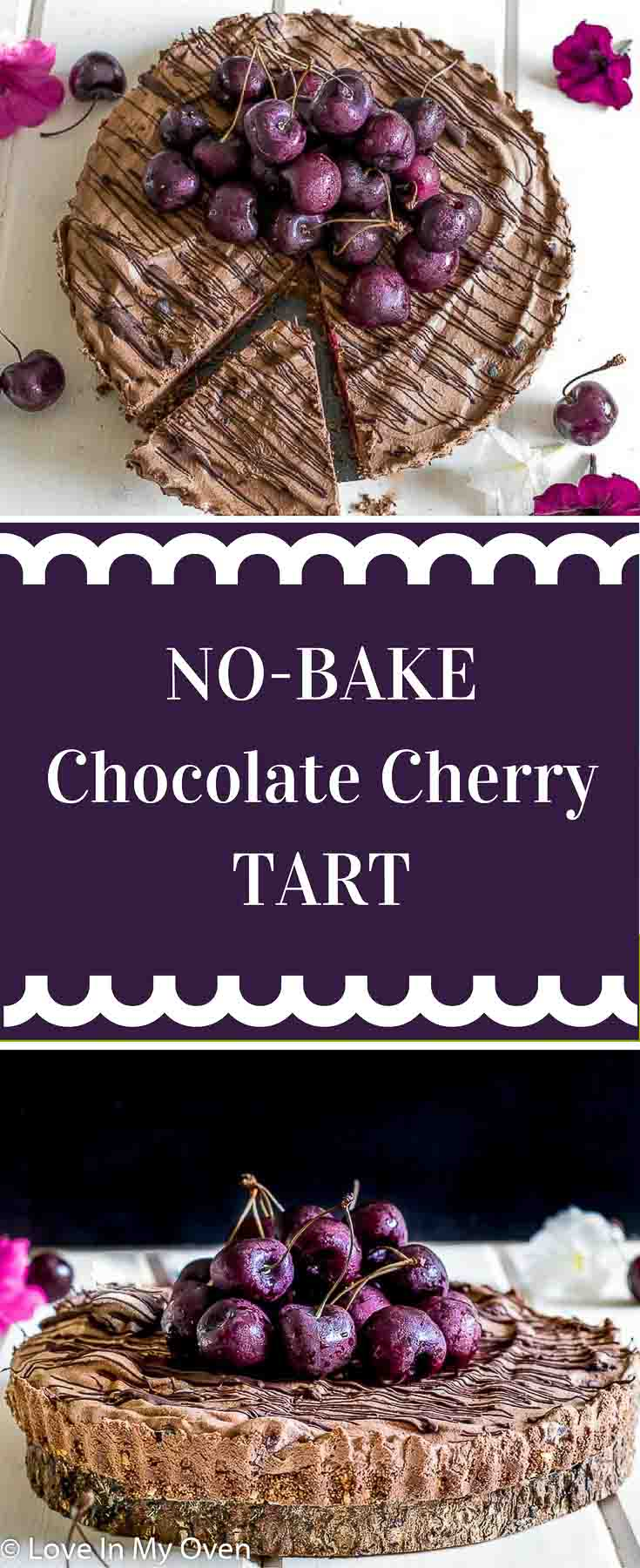 A fluffy, velvety, no-bake chocolate tart filled with fresh cherries and made with achocolate graham cracker crust. The perfect summer dessert!