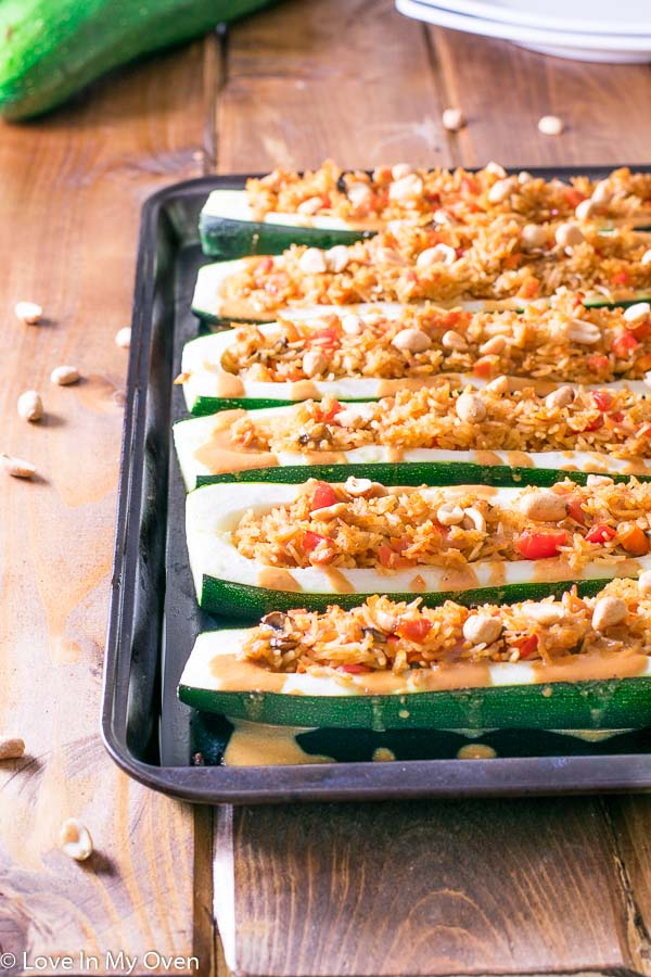 Red Thai Zucchini Boats