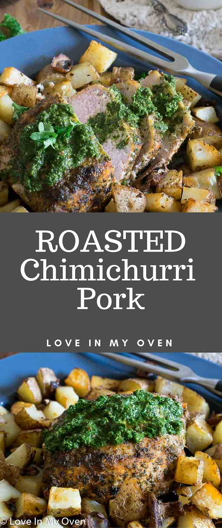 A brightly coloured chimichurri sauce with flavours of garlic and herb makes the perfect accompaniment to roasted pork with potatoes and mushrooms!