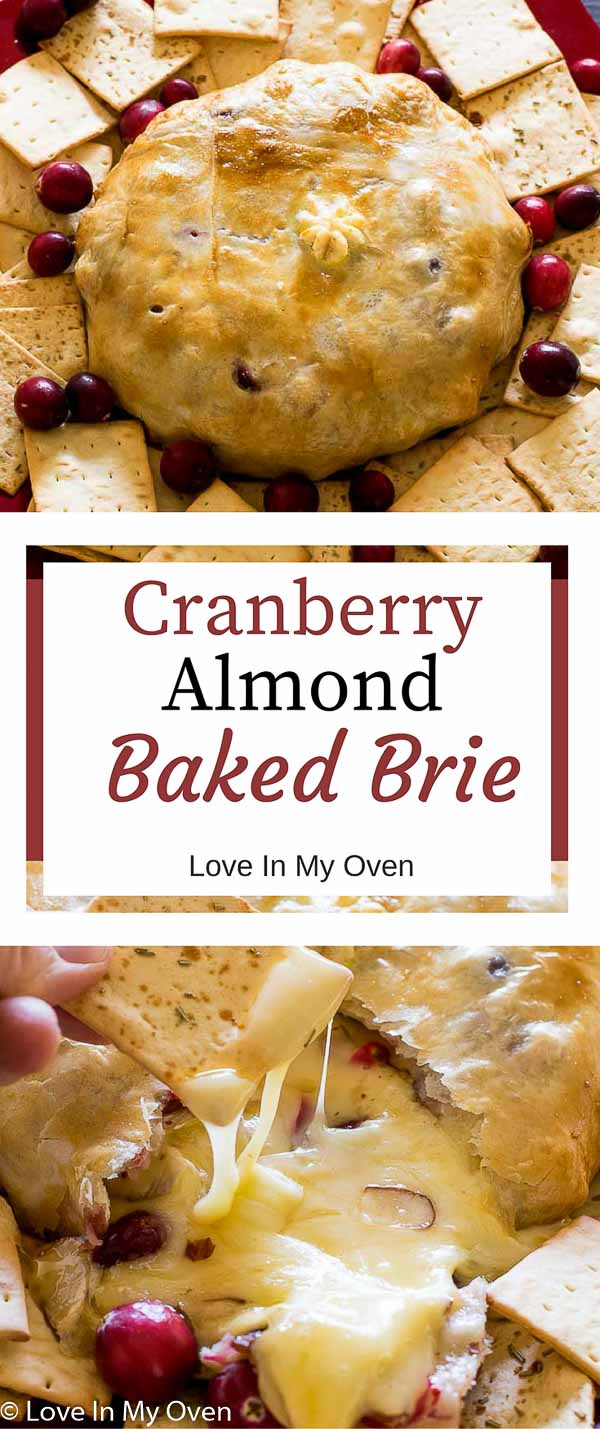 baked brie, cranberry, almond, brie, puff pastry, savory, appetizer, thanksgiving, Christmas, holiday, savory, cheese