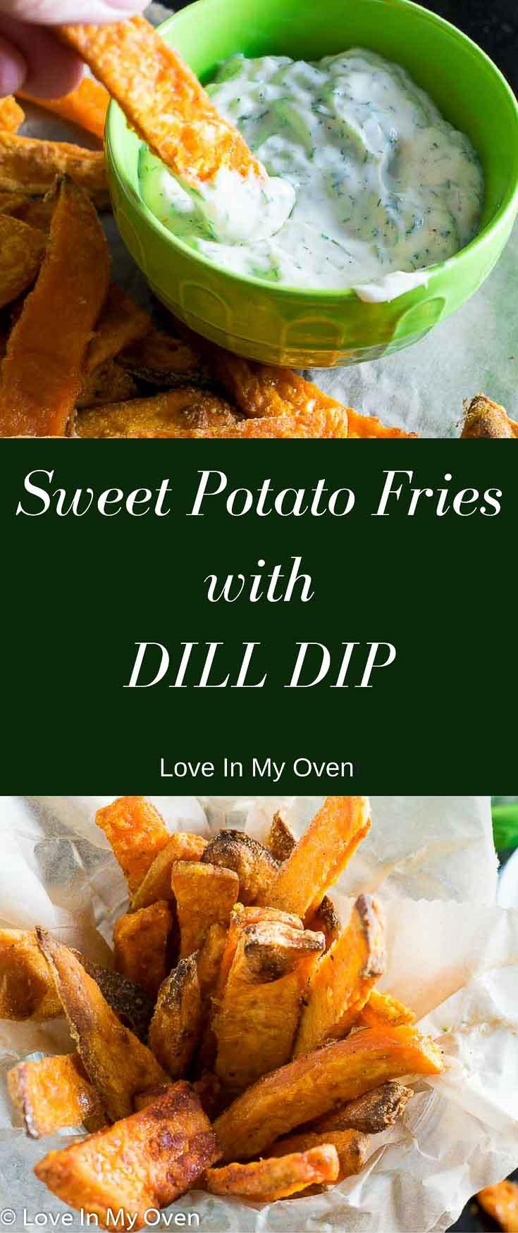sweet potato fries, dill dip, crispy fries, on the side, appetizer, sweet potato