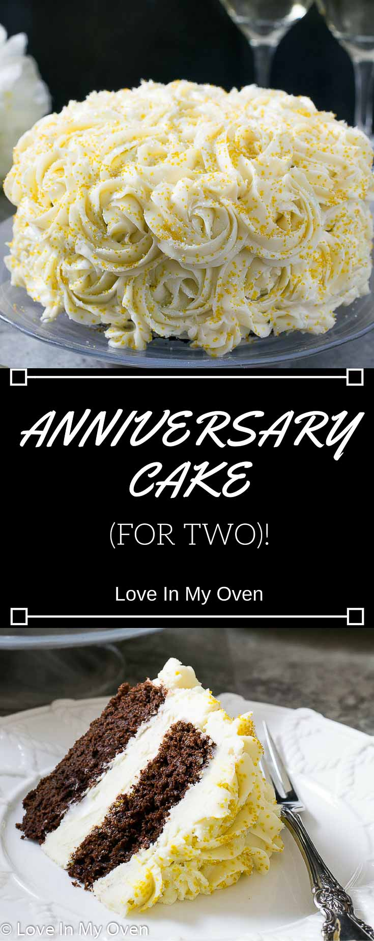Celebrate your anniversary, just the two of you, with the most perfect chocolate cake adorned with cream cheese icing - in miniature form!