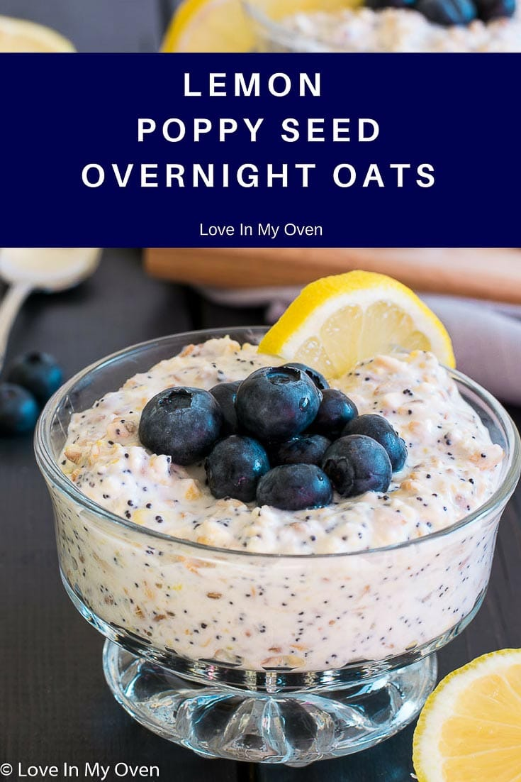 Save some time in the morning by preparing these sunshine-filled sweet and tangy lemon poppy seed overnight oats the night before!
