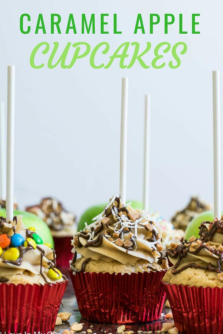 Bring the fair to your kitchen with these caramel apple cupcakes. Take a bite out of a soft, fluffy apple cupcake donned with thick caramel frosting and decorated with your favourite candies, just like the caramel apples you know and love!