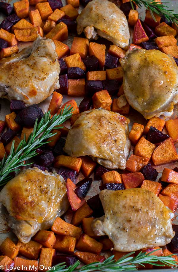Sheet Pan Chicken with Sweets n Beets
