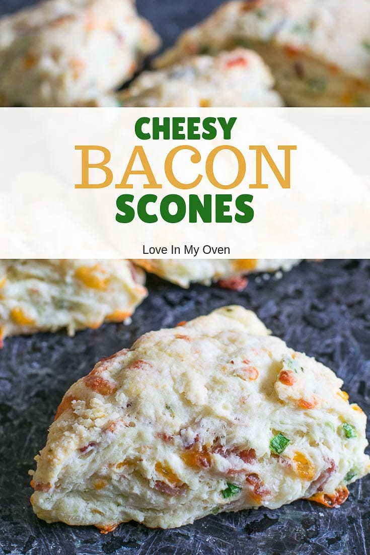 Light and flaky savory scones made with crisped bacon, cheddar and mozzarella cheese and green onions. A delightful scone to serve with brunch or as a breakfast on-the-run!