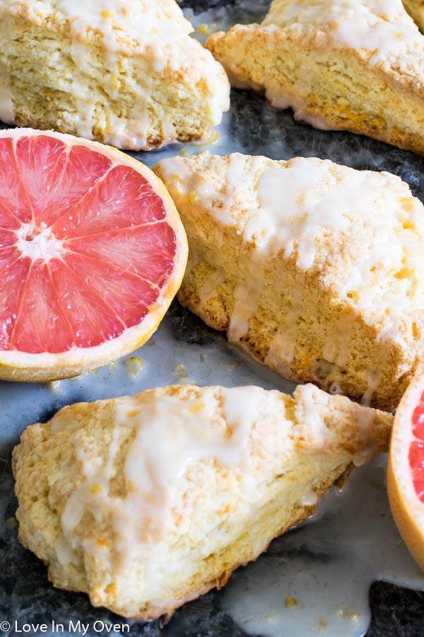 glazed grapefruit scones