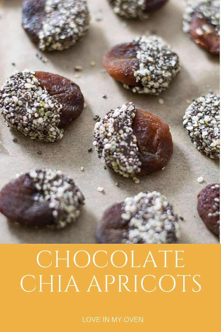 Add a little crunchy love to a favourite dried fruit by dipping them in chocolate and then a mixture of chia and hemp seeds!