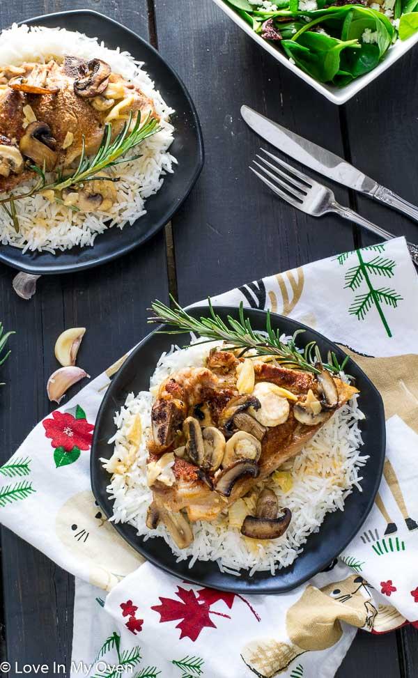 One Pan Porkchops and Mushrooms