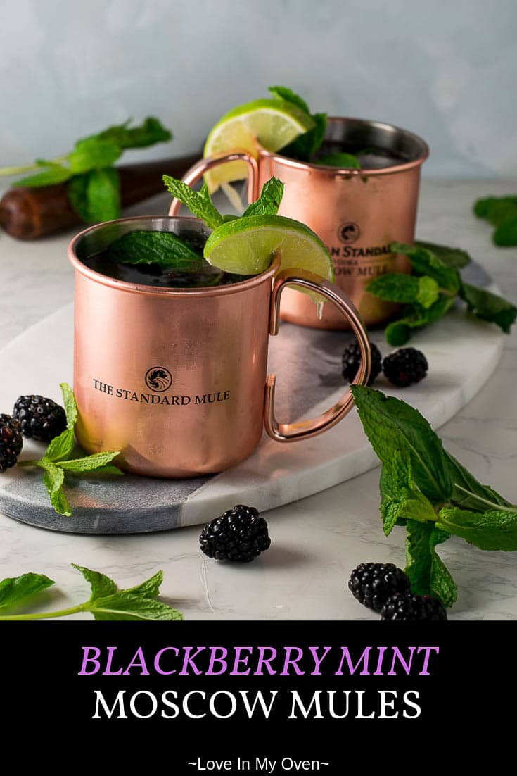 The most refreshing Moscow Mule you\'ll have this summer! Tart blackberries and mint combined with smooth vodka, spicy ginger beer and fresh lime juice, all served up in a cold copper mug. Cheers! #moscowmule #summerdrinks #cocktails #moscowmulerecipe #blackberries #cocktailrecipe