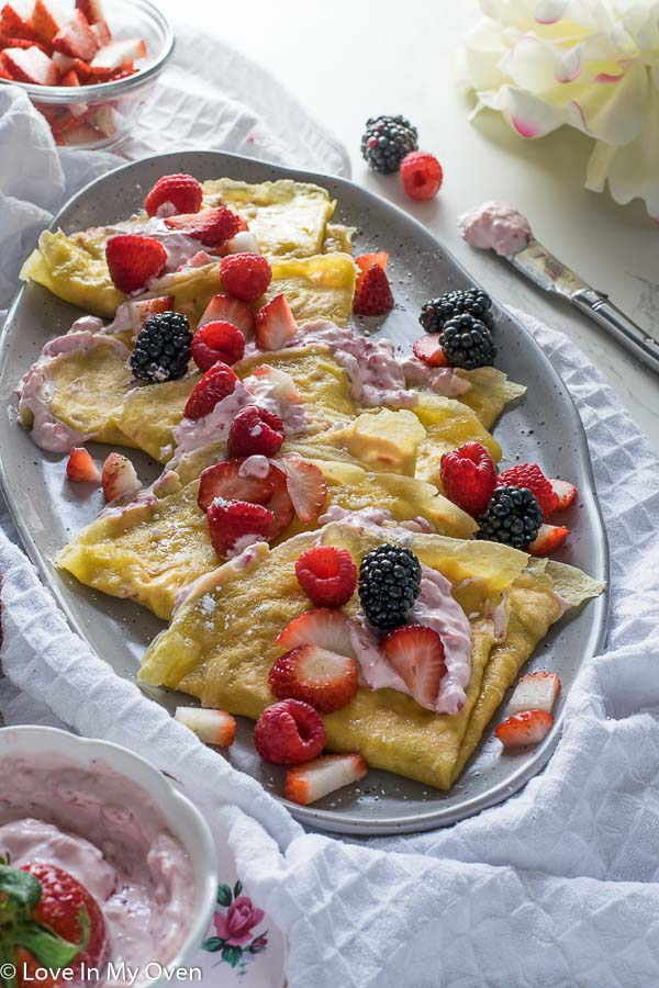 Grain-Free Crepes with Strawberry am Cheese Filling-5