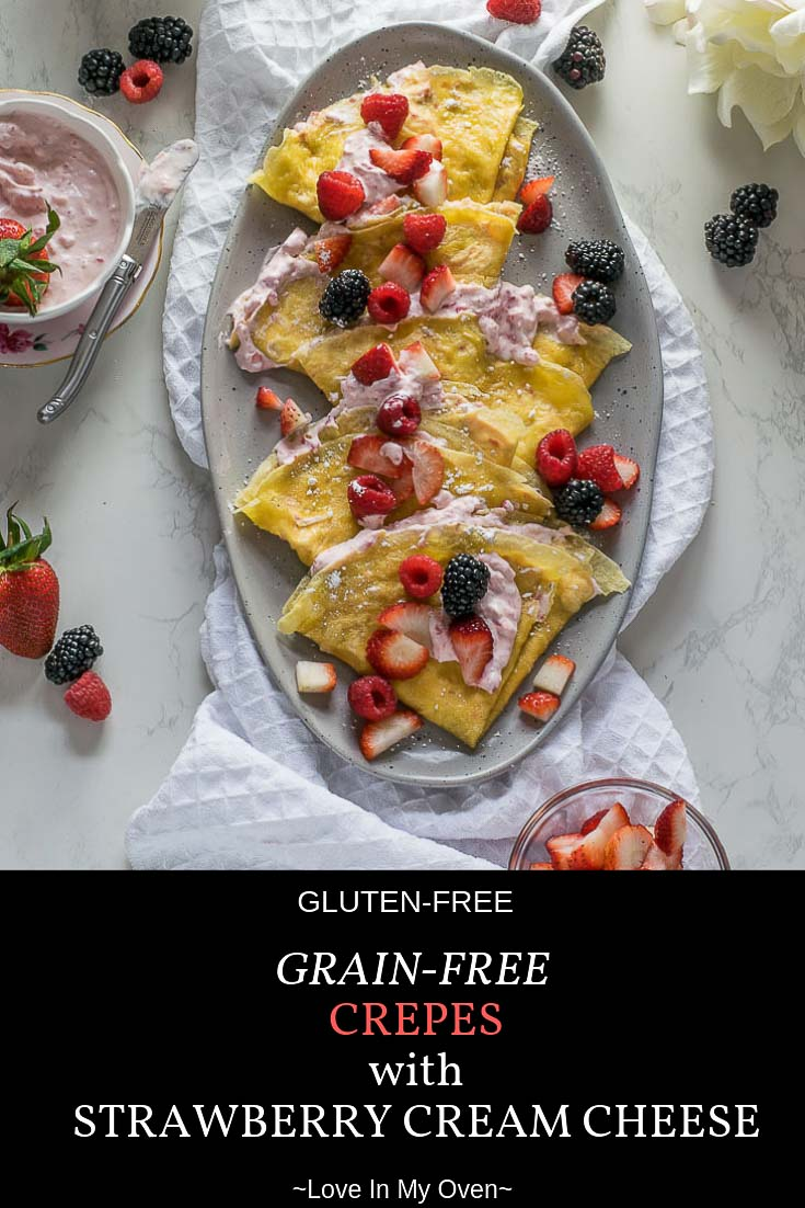 You won\'t believe how easy it is to make these 5-ingredient grain-free, gluten-free crepes, filled with a heavenly fresh strawberry cream cheese filling! #glutenfreeeating #grainfree #grainfreerecipes #glutenfree #springrecipes #brunch