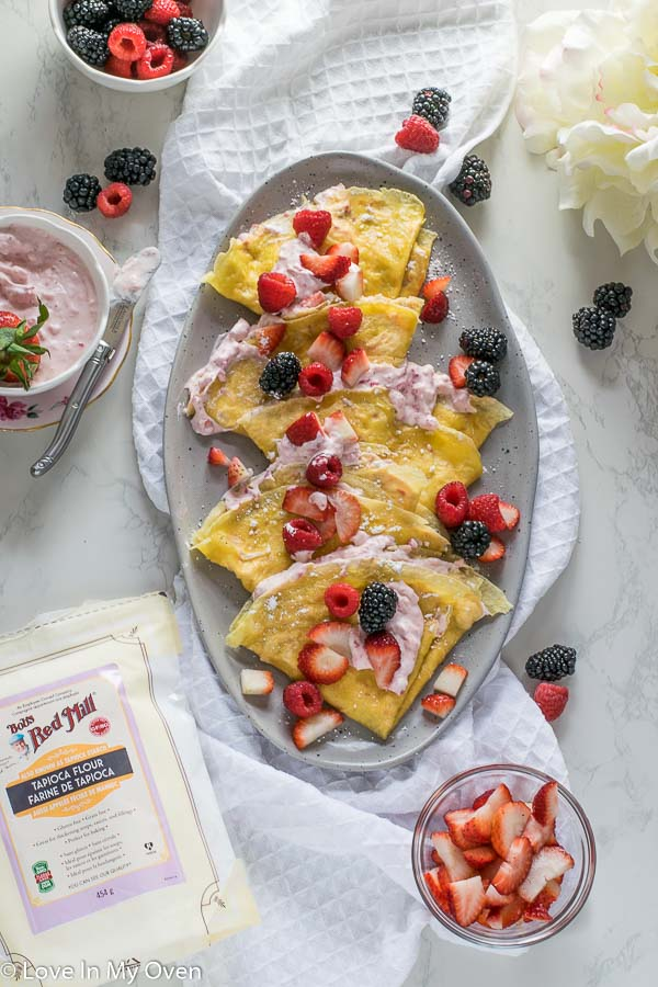 Grain-Free Crepes with Strawberry Cream Cheese Filling