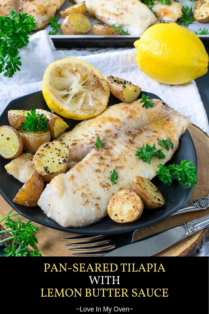 This pan seared tilapia with lemon butter sauce is one of the best tilapia recipes! Serve this pan fried whole tilapia with roasted potatoes for an easy dinner win! // best tilapia recipes // lemon butter tilapia // pan fried whole tilapia
