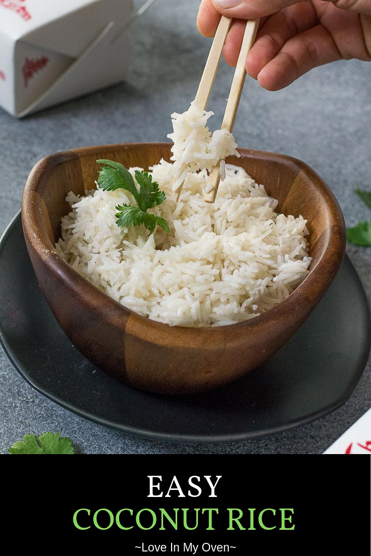 Once you try this easy coconut rice recipe you\'ll never make plain rice again. This basmati coconut rice is the perfect pair to curries and stir fry! // basmati coconut rice // creamy coconut rice // easy coconut rice recipe