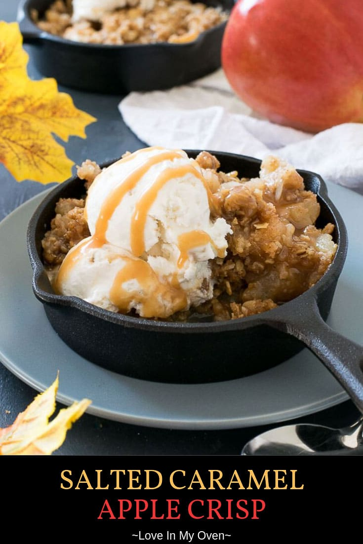 The only thing better than apple pie is salted caramel apple crisp! An easy caramel apple crisp makes for the perfect fall dessert that easily feeds a crowd. // salted caramel desserts // easy caramel apple crisp // fall dessert