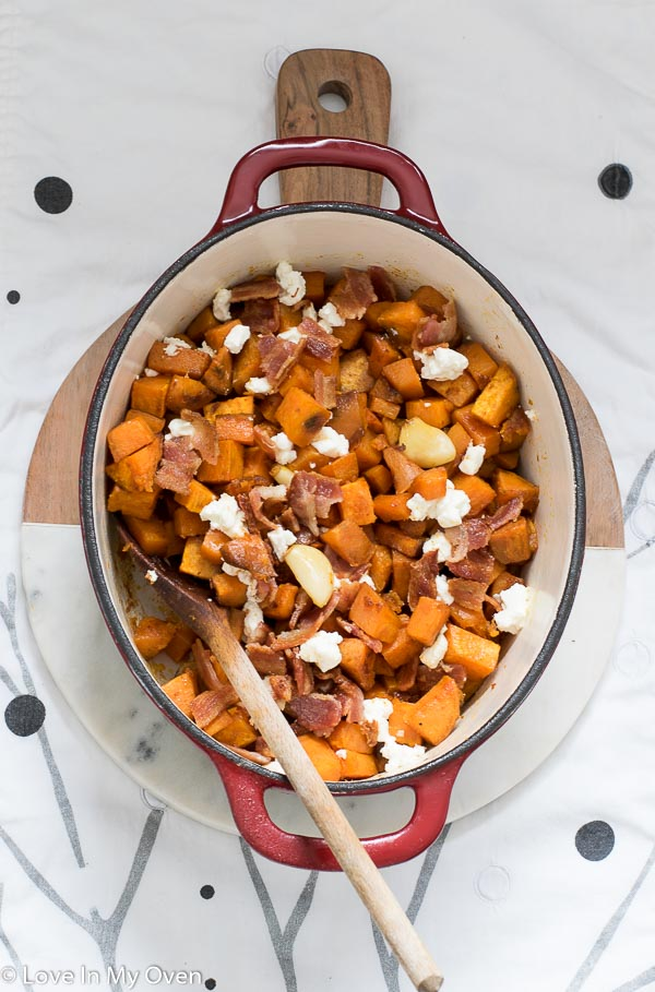 roasted sweet potatoes with bacon