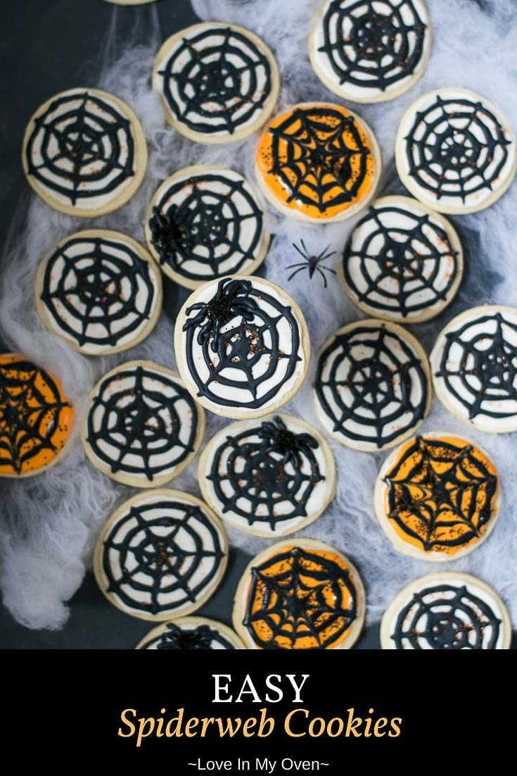 These easy cream cheese cookies are made a little extra fun by turning them into spiderweb cookies! They\'re easy Halloween cookies that are sure to delight! // easy Halloween cookies // Halloween spider cookies // cream cheese Halloween recipes