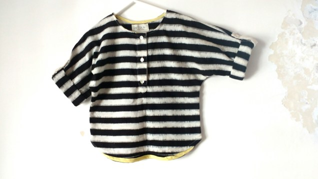 Boys shirt in black and white ikat
