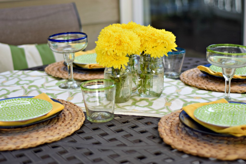 Summer table with flowers