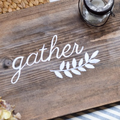 DIY Gather Sign. Easy tutorial to create your own farmhouse sign for fall