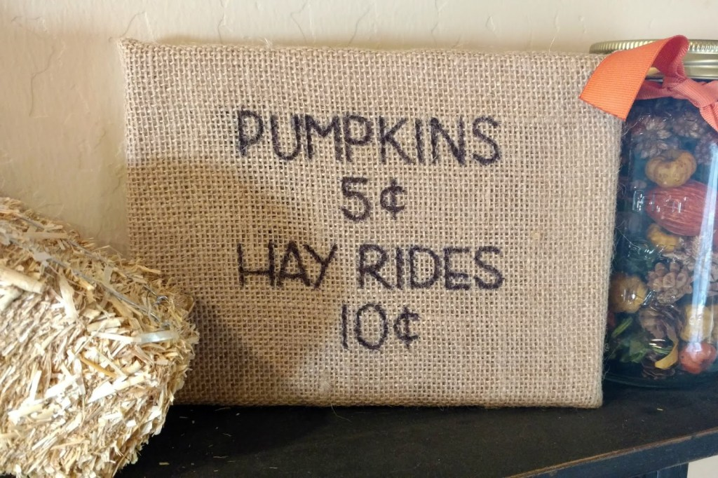 Burlap fall sign from Sunshine and Munchkins