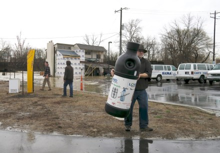 Items being removed to higher ground at Loveland Canoe and Kayak