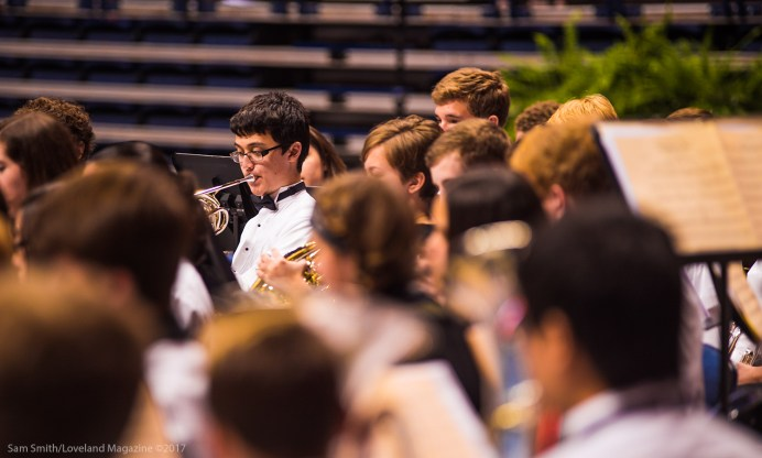Senior, Wyatt French, performs with the Loveland Band.