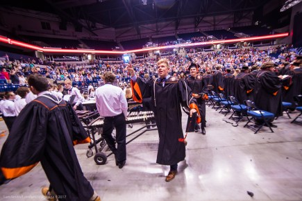 Drew Docherty leaves the Cintas Center. Docherty will be attending Indiana University.