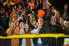 Spectators celebrate Loveland's victory