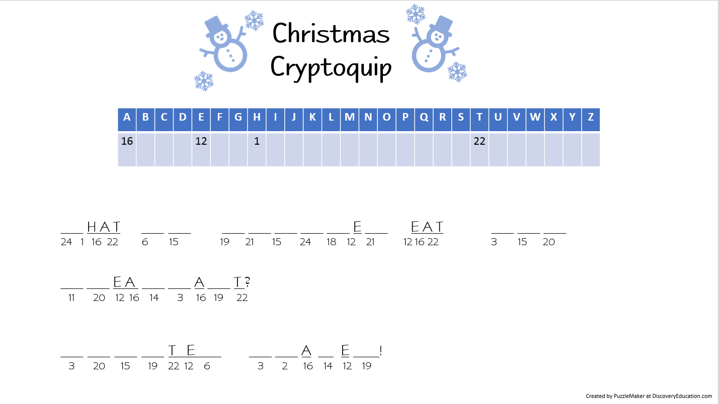 Christmas Word Puzzles For Seniors