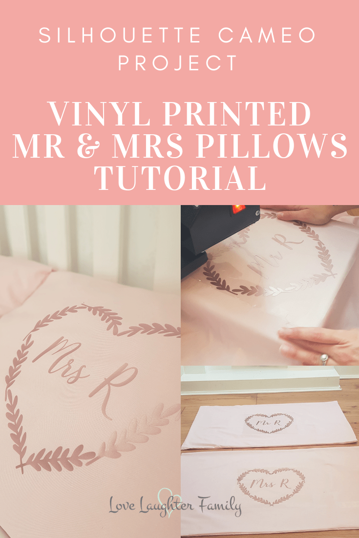 lhouette Cameo Project Vinyl printed mr and mrs pillows