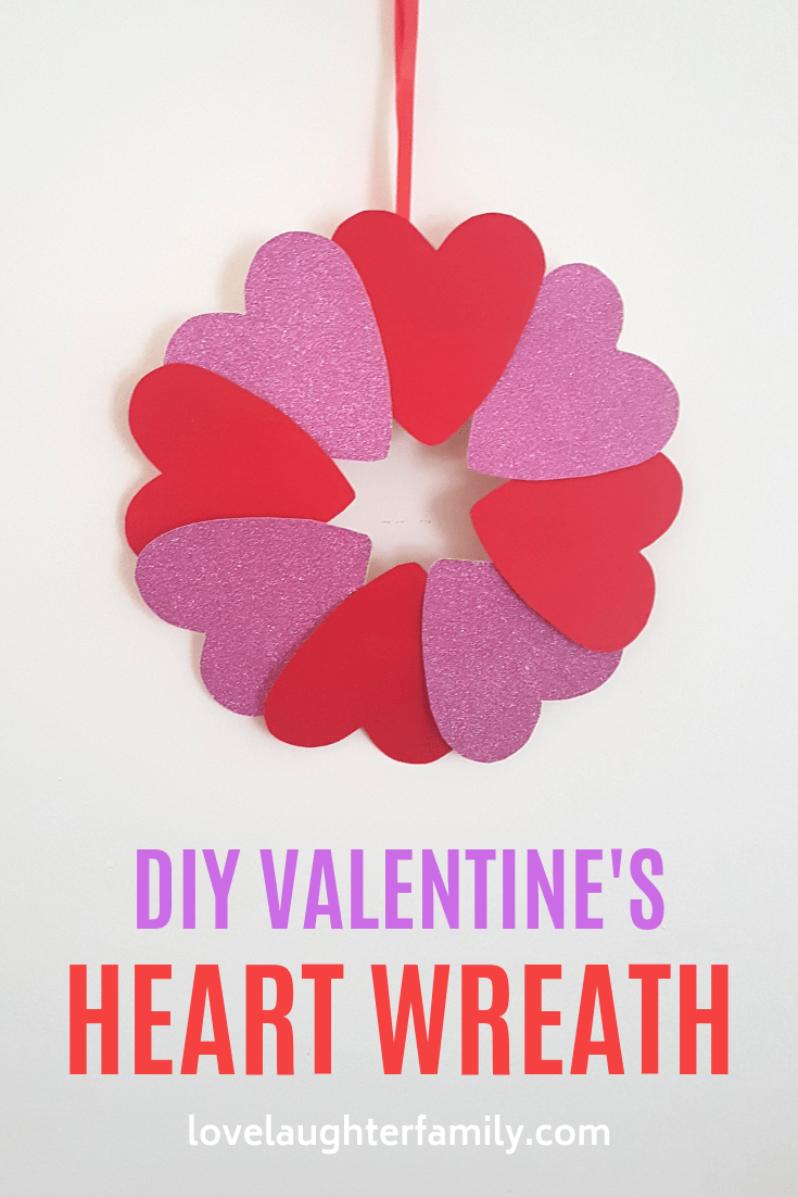 Simple Valentines Heart Wreath Craft for Kids. Valentine's Day Crafts For Kids Heart Wreath that toddlers and kids can do, easy.