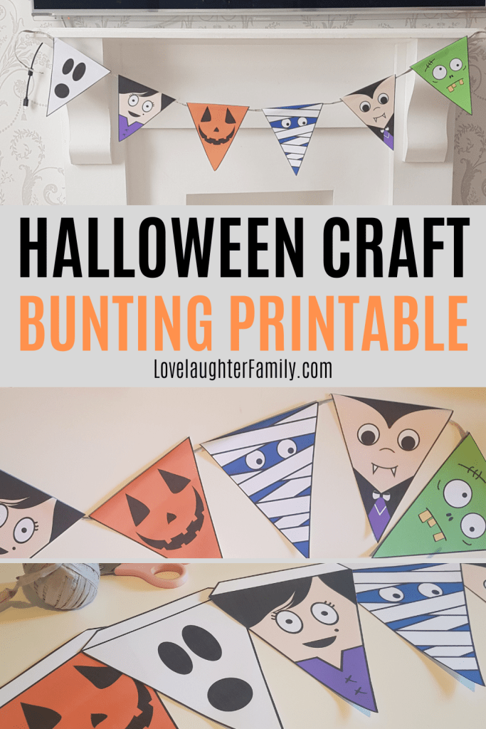 This printable Halloween craft is a Halloween bunting with goofy spooky characters that the kids will enjoy making.