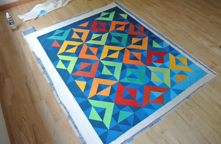 WIP Basting and Quilting Reflected