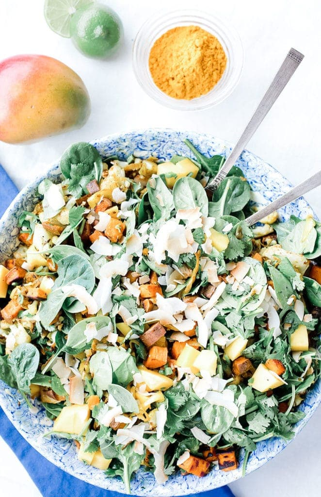 Spinach, mango, and curried sweet potato salad from above.