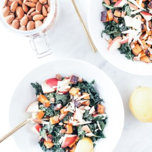 Sweet potato and almond salad with honey-mustard dressing from above.