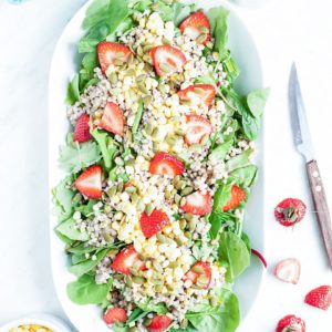 Strawberry salad with buckwheat and hemp seed pesto dressing from above.