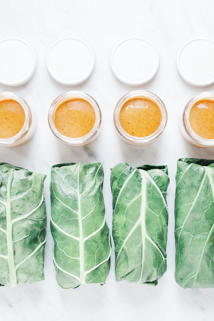 Collard wraps with cilantro hummus from above with almond butter dipping sauce.