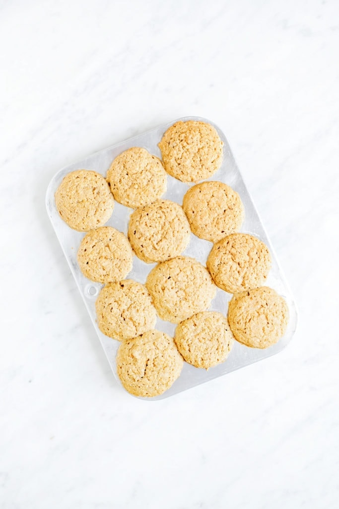 Vegan gluten-free cornbread in a muffin tin.
