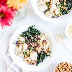 Cauliflower curry bowls with crunchy chickpeas.