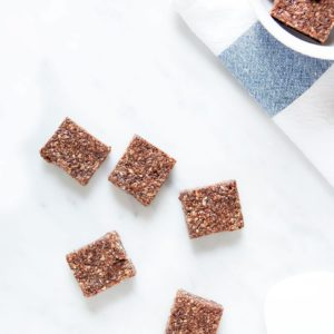 Mocha coconut squares on white background