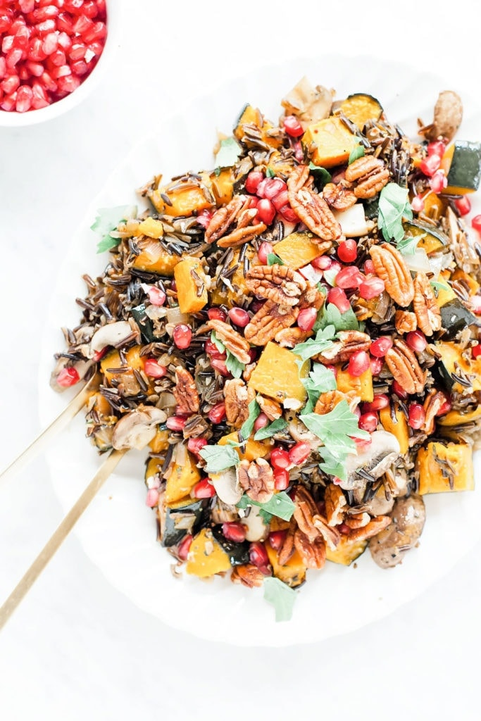 Wild rice salad with kabocha squash on platter.