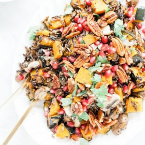 Wild rice salad with kabocha squash on platter.