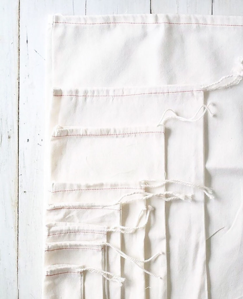 Cotton produce bags.